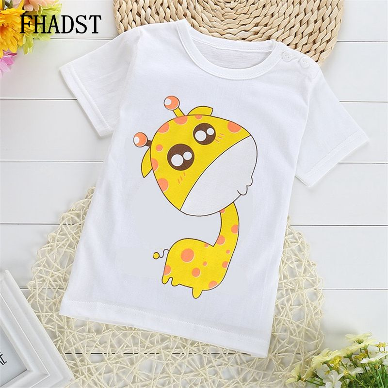 FHADST Active Baby 0-2 year Boys Girls T shirt Short Sleeve O-Neck Cotton tees Kids Summer White Clothes Character Cute monkey