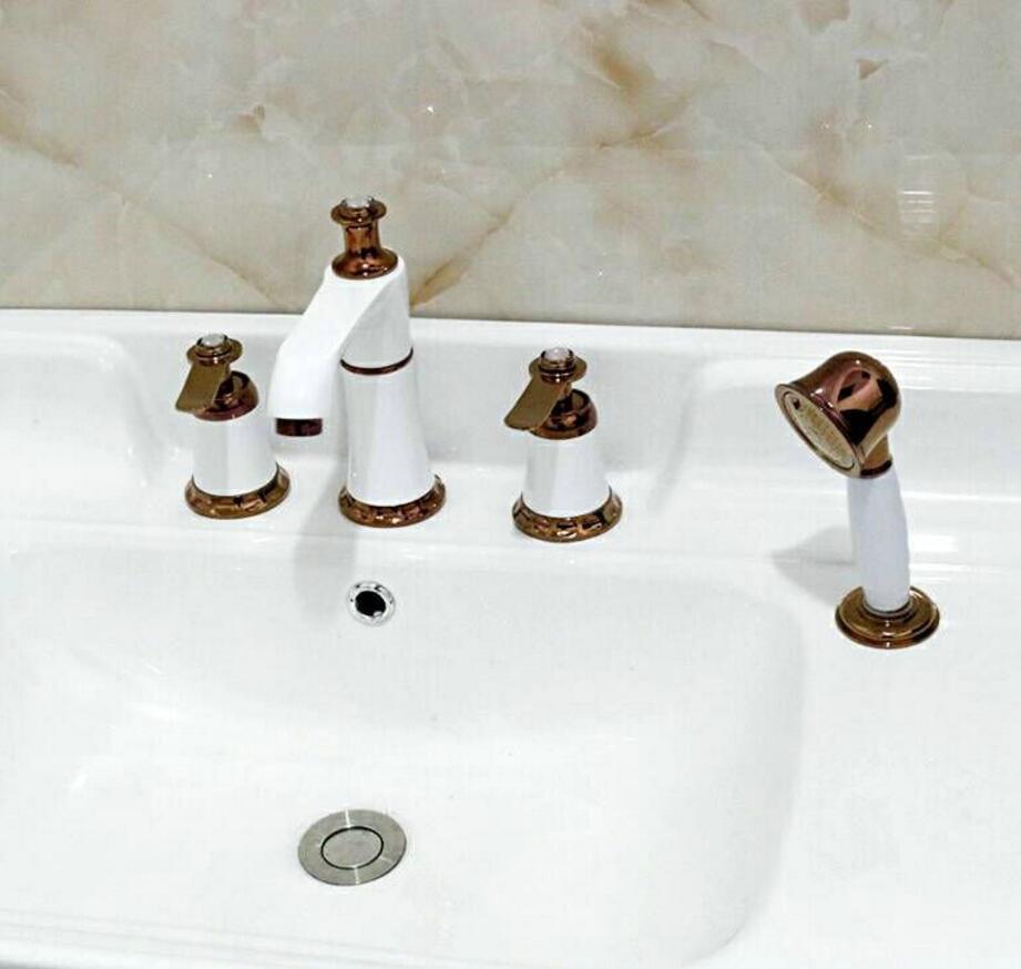 Vidric Golden Bath Faucet Double Handle 4 Holes Deck Mounted Sink Faucet Hot &Cold Mixer tap Bathroom Faucet  with showerVidric Golden Bath Faucet Double Handle 4 Holes Deck Mounted Sink Faucet Hot &Cold Mixer tap Bathroom Faucet  with shower
