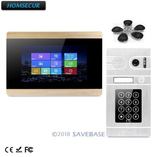 HOMSECUR 7 Wired Video Door Entry Phone Call System Intercom CCTV Camera Supported with Password & ID Access 7 inch password id card video door phone home access control system wired video intercome door bell