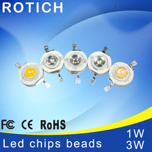 20pcs / lot Epistar High Power 1W 3W led chips beads bulb diode lamp Warm white red blue green for LED Spotlight