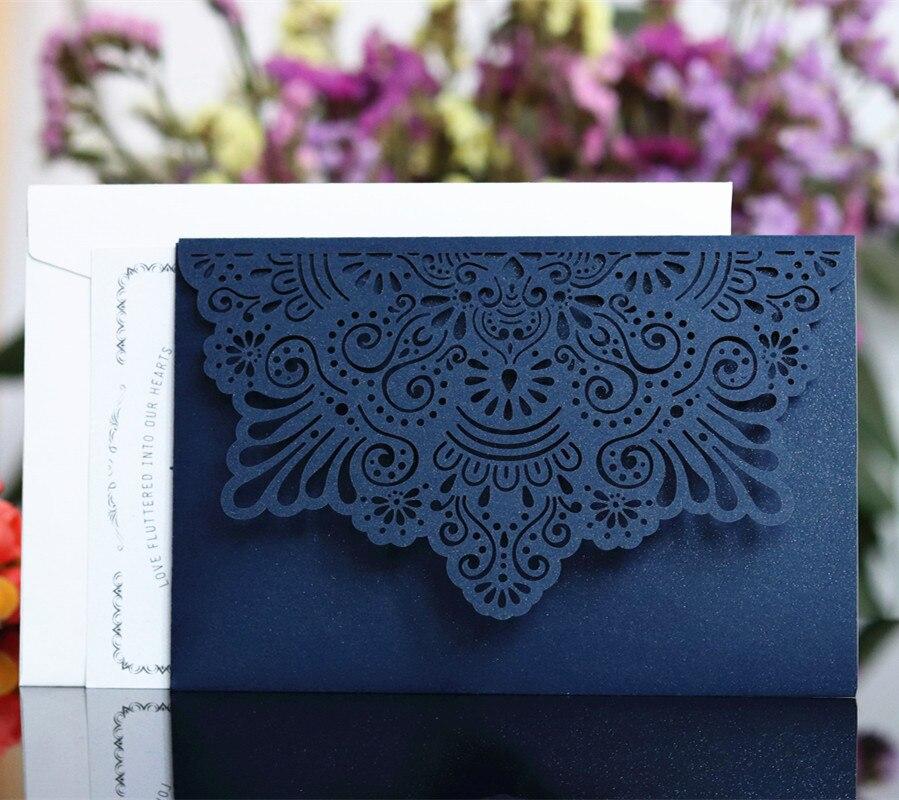 Ev ve Bahçe'ten Kartlar ve Davetiyeler'de Zarif davet kartı özelleştirilmiş cep tri katlanır iş davetiye kartı beyaz mavi çiçek lazer kesim 50 adet/grup'da  Grup 2