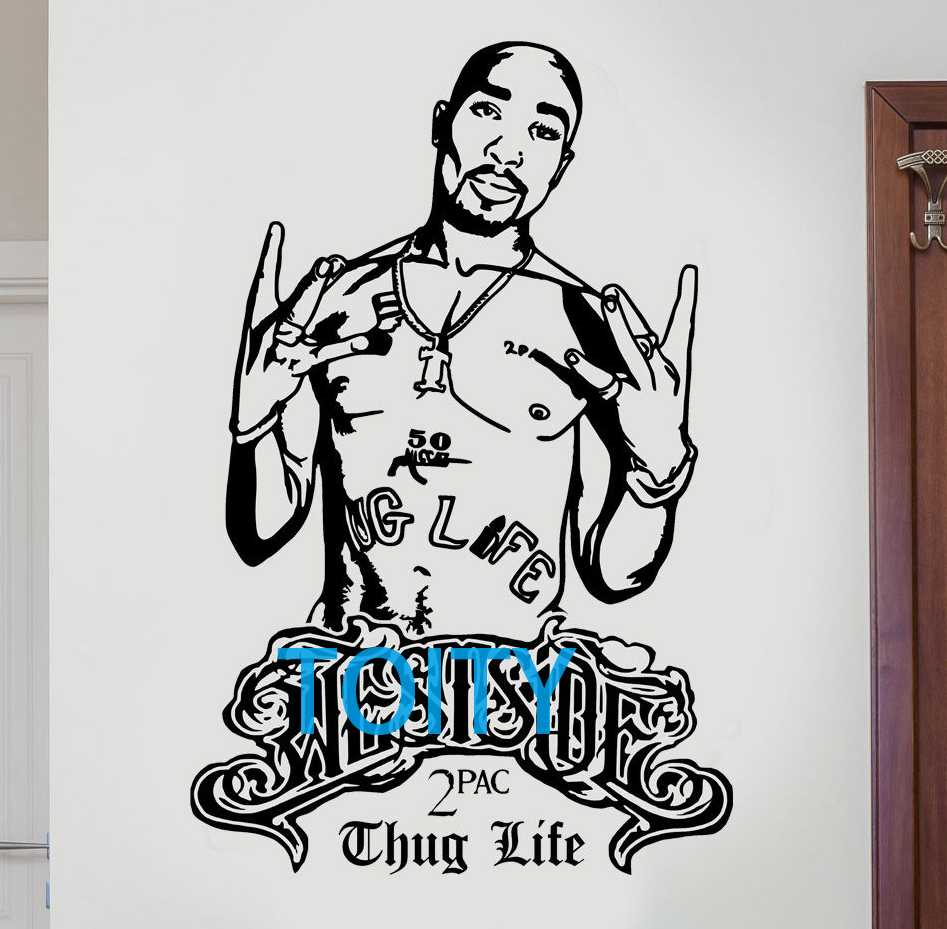 2pac tupac decal westside thug life rapper hip hop legend diy wall art sticker h89cm x w58cm in wall stickers from home garden on aliexpress com alibaba