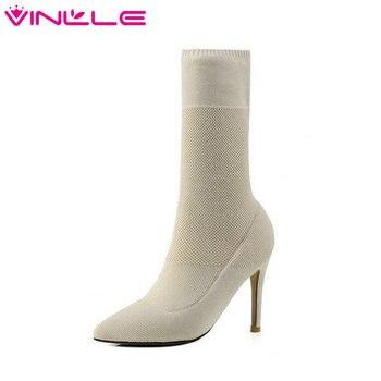4cbce6fe7 VINLLE/2019 г. женская обувь сапоги до колена тонкий высокий каблук Вязание  острый носок Слипоны женские мотоциклетные сапоги размеры 34–41