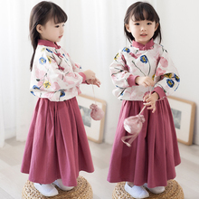 Girls Chinese Style Set Child Spring New Hoodies Vintage Cotton And Linen Skirt Two-piece High Quality Baby Clothes 1-10 Year