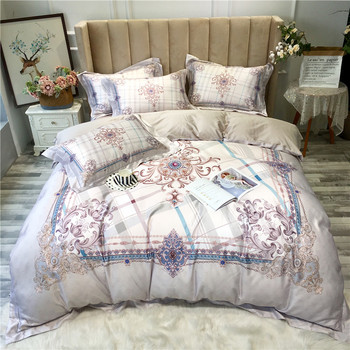Europe Bohemia Duvet Cover Bedding Egyptian Cotton Floral and Diamond Printed Bedding Set Zipper Queen King size Bed set 4Pieces