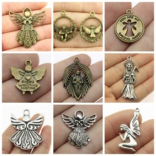 Mix Angel Pendant Angel Wings Pendant Charms For Jewelry Making Diy Craft Supplies Angel Wing Charm Women Jewelry wings amulet pendant angel wings charms rose wings charms diy handmade jewelry charms tibetan silver tone a2022 10pcs