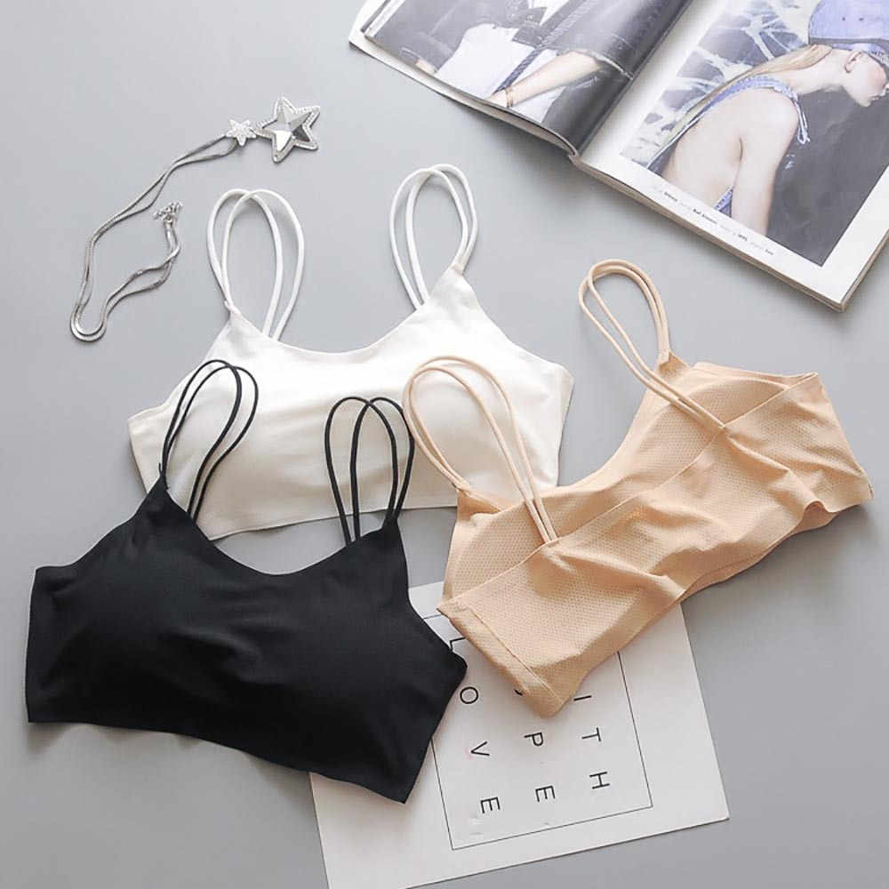Women Sexy Tube Top Gathered Camisole Top Vest Female Ice Silk Breathable Chest Pad Daily Wearing Sports Underwear Wrap girl top