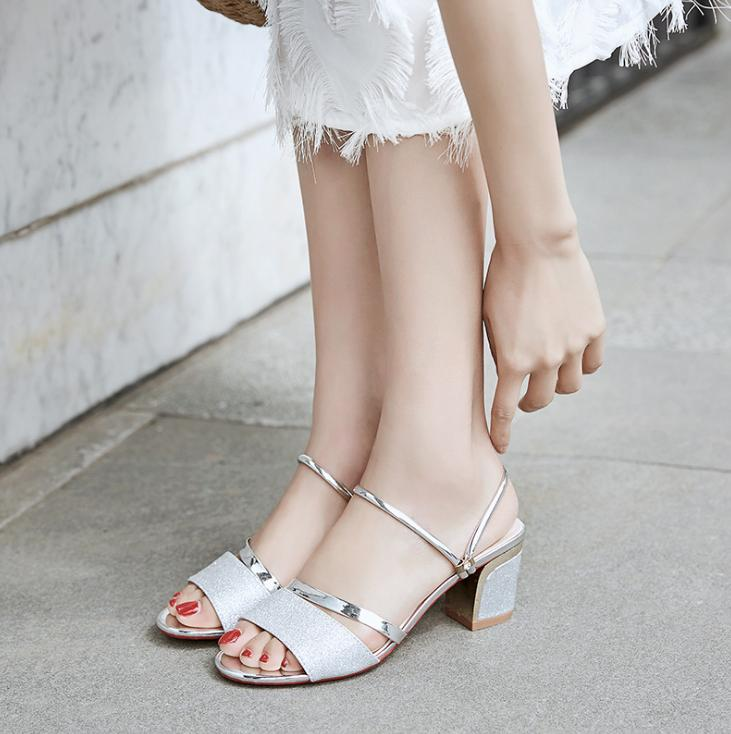 Summer new women's shoes explosion models sandals casual high-heeled shoes thick with fashion breathable shoes wild fish mouth