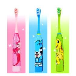 Kinder Cartoon-Muster Akustische Welle Elektrische Zahnbürste Kinder Hause Nette Weiche Haar Elektrische Zähne Pinsel doppelseitige Sauber