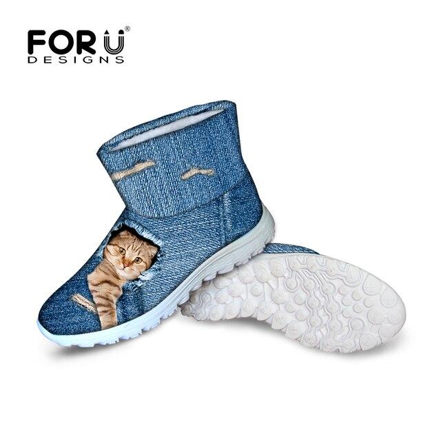 2016 Lindo Del Gato Del Perro de Las Mujeres de la Nieve del Invierno Botas de Vaqueros Comodidad azul Color de Tobillo Botas de Mujer Impermeable Antideslizante Plataforma de Piel Caliente botas