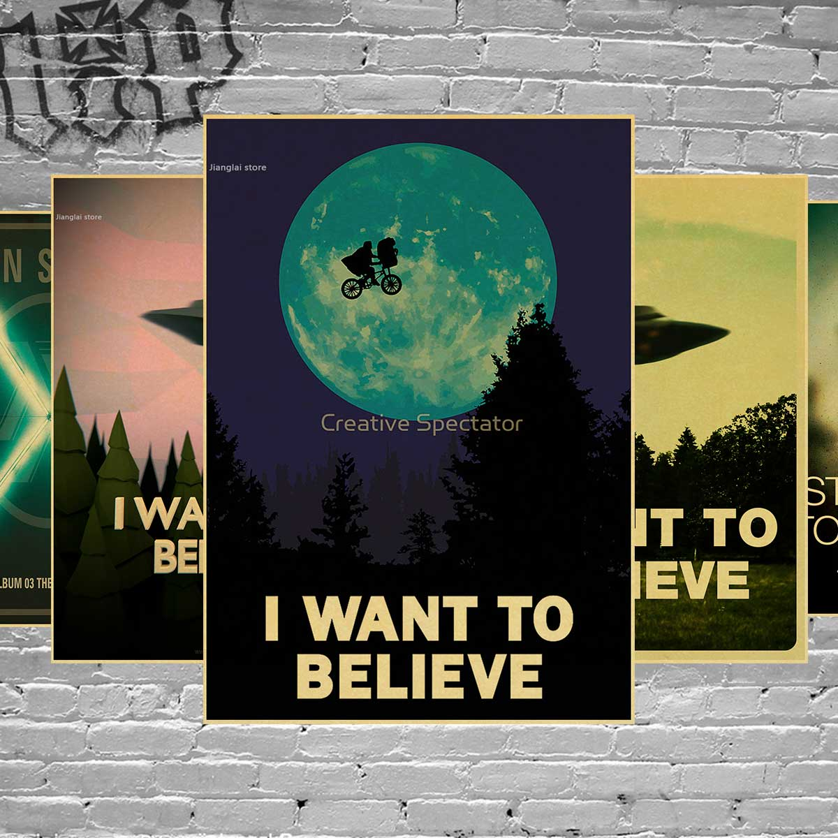 Vintage Classic Movie The X Files I Want To Believe Poster Bar Home Decor Retro