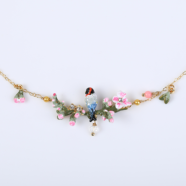 European fashion jewelry les nereides birds song on branch pink european fashion jewelry les nereides birds song on branch pink flower 24k golden necklace party jewelry free shipping in chain necklaces from jewelry mightylinksfo