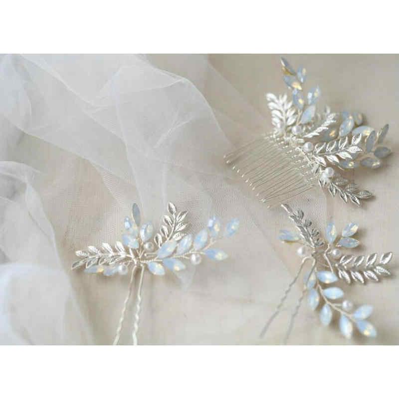 Argent feuille peigne épingles à cheveux de mariée accessoires de cheveux pour les femmes de mariage à la main en métal feuilles opale cristal cheveux bijoux casque