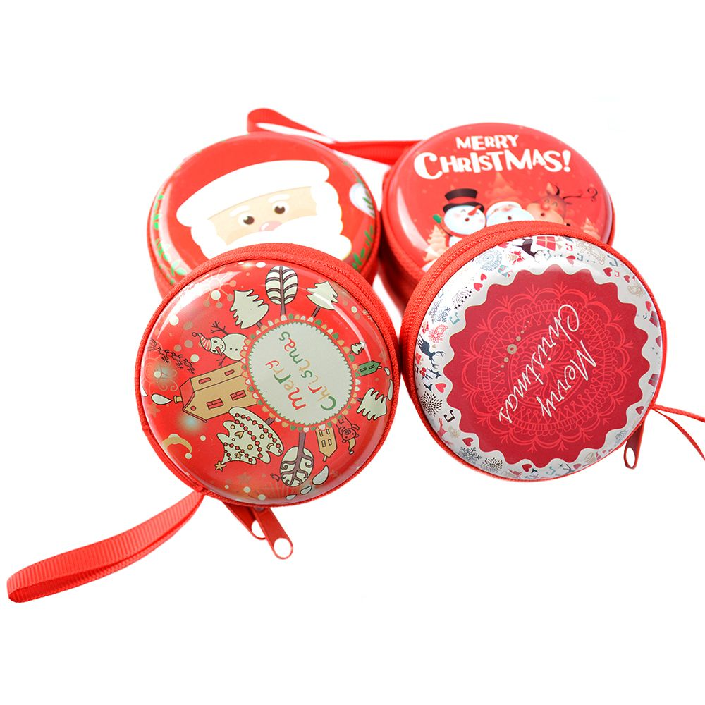 Christmas Mini Small Earphone Bag Pouch Wallet Coin Key Purse Zip Round