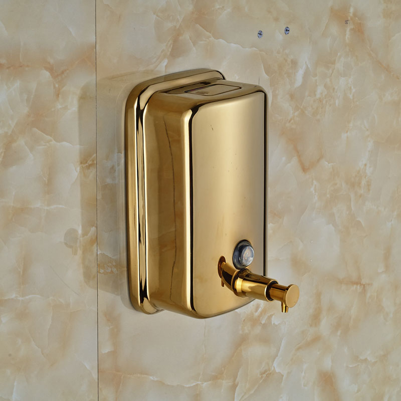 Gold-plate 800ml Bathroom Kitchen Liquid Soap Dispenser Pump Wall Mounted Stainless Steel Bamboo Soap Dispenser 280lm automatic liquid soap dispenser stainless steel sensor soap dispenser pump shower kitchen soap bottle for bath washroom