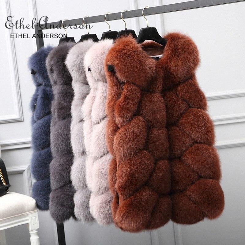 ETHEL ANDERSON 100% настоящий натуральный мех жилет роскошный женский Argyle толстые зимние модные меховые пушистый жилет лисий мех пальто женские мех
