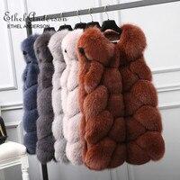 ETHEL ANDERSON 100% Real Natural Fur Vest Luxury Women Argyle Thick Winter Fashion Fur Furry vest Fox Fur Coat Female Fur Vests