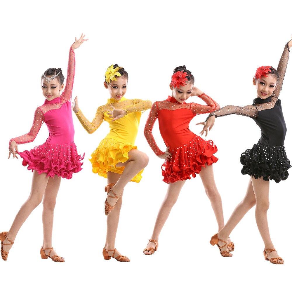 Jaunākās seksīgās mežģīnes ar garām piedurknēm mežģīnēm meitenēm bērniem balles kleitās izdilis Tango Salsa Tutu latīņu deju kleita bērniem S-3XL