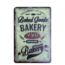 BAKERY Goods Vintage Metal Tin Sign Kitchen Food Painting Poster Antique Iron Bar Cafe Pub Signs Wall Art Sticker 20x30cm A895