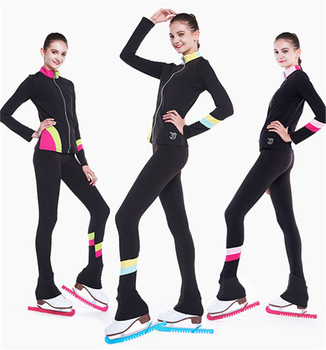 Figure Skating Suits Jacket and Pants Long Trousers for Girl Women Training Patinaje Ice Skating Warm Multi-color matching