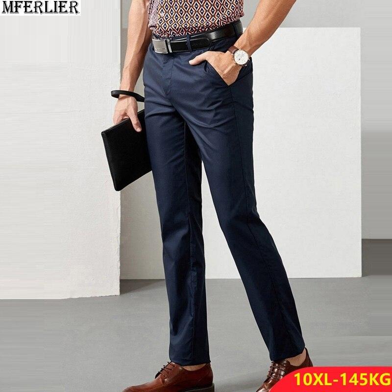 Men Classic Suit Pants Thick Formal Trousers Fleece Warm Business Plus Large Size Big 8XL 9XL 10XL Winter Straight Pants 5XL 50