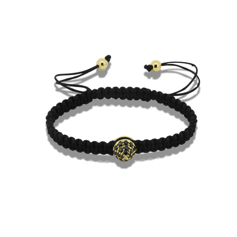 Charms simple rock punk style Men Jewelry black CZ golden Circular Cone and 6mm copper Beads Braiding Macrame Bracelet