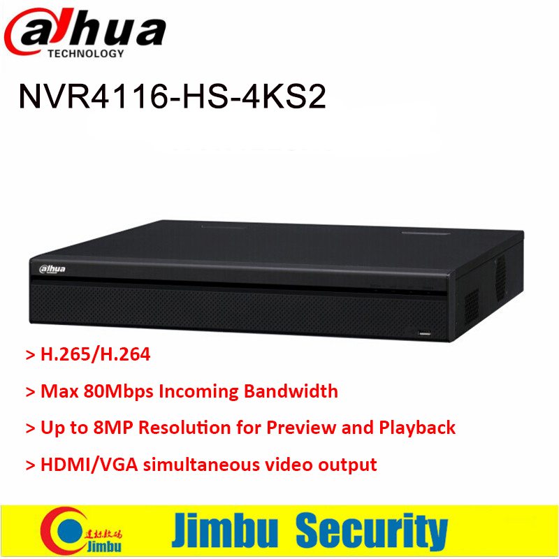 Dahua NVR 4K 16Ch NVR4116HS-4KS2 Network Video Recorder 1U Lite Network H.265 H.264 Up to 8MP HDMI VGA simultaneous output ixfk66n50q2 to 264