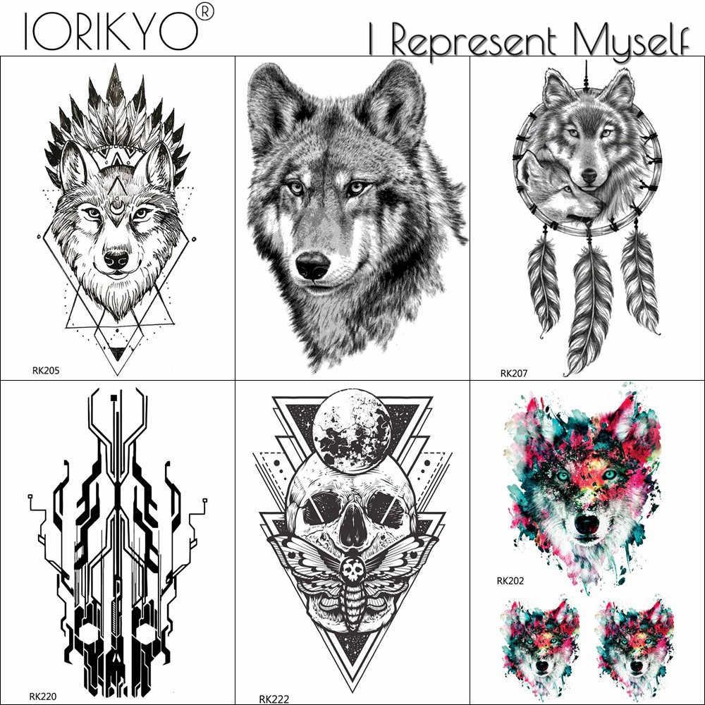 Hitam Sketsa Serigala Geometris Hantu Hewan Suku Fake Tato Stiker Tahan Air Diseduh Sendiri Untuk Pria Tattoo Temproary Lengan Tubuh Seni Tato