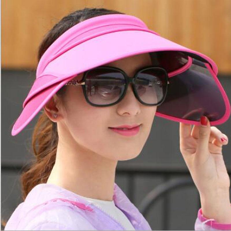 Ymsaid 2018 nuevo visera retráctil hembra verano sol sombrero superior  vacío sólido unisex sombrero anti- c4d1de12d10