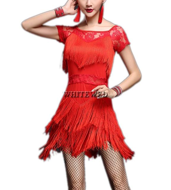 Women S Fringe Lace Short Sleeve Gatsby Salsa Tango Jazz