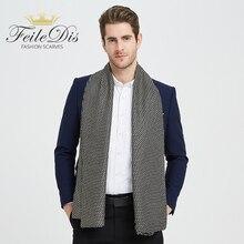 [FEILEDIS] шелковый шарф с пентаграммой, мужские шелковые шарфы, модные аксессуары, Осень-зима, мужские длинные шарфы из чистого шелка, галстук 170*30 см