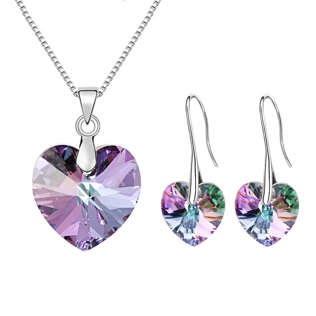 2017 BAFFIN Original Crystals From Austrian XILION Heart Pendant Necklaces Drop Earrings Jewelry Sets For Women Lovers Gift
