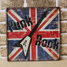 """Free shipping Live Wall Art–New Year """"punk rock""""Poster Painting Metal Plaque matte Pub Sign  Retro Cafe Bar decor 30x30CM"""