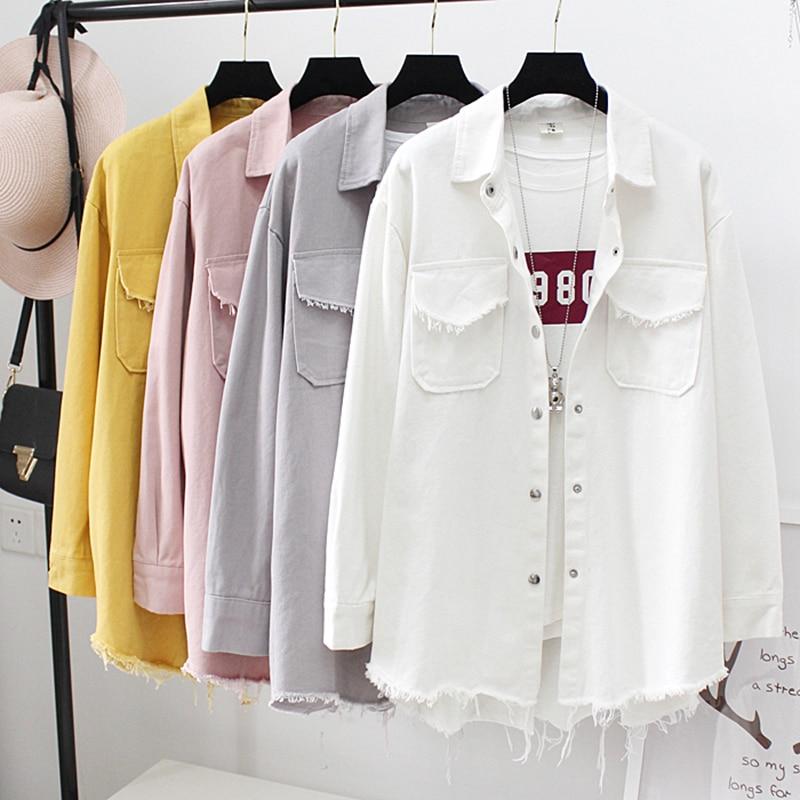 Spring Summer Women`s Denim Jacket Cute Long Ripped Tassel Boyfriend Style Distressed Long Sleeve Solid Coat Outerwear