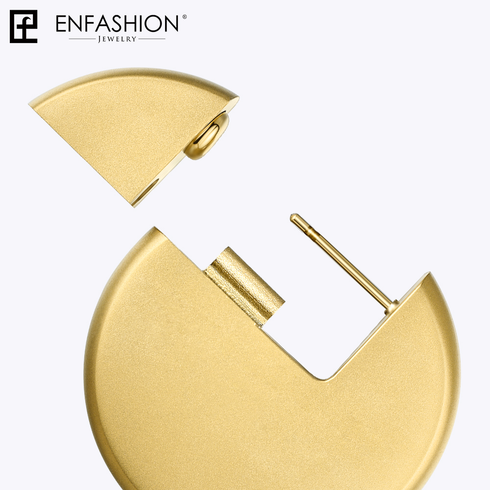 Image 5 - Enfashion Discos Drop Earrings For Women Gold Color Big Circle  Statement Stainless Steel  Earings Fashion Jewelry Oorbellen 1053Drop  Earrings