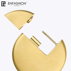 Image 5 - Enfashion disko bırak küpe kadınlar için altın renk büyük daire bildirimi paslanmaz çelik küpe moda takı Oorbellen 1053