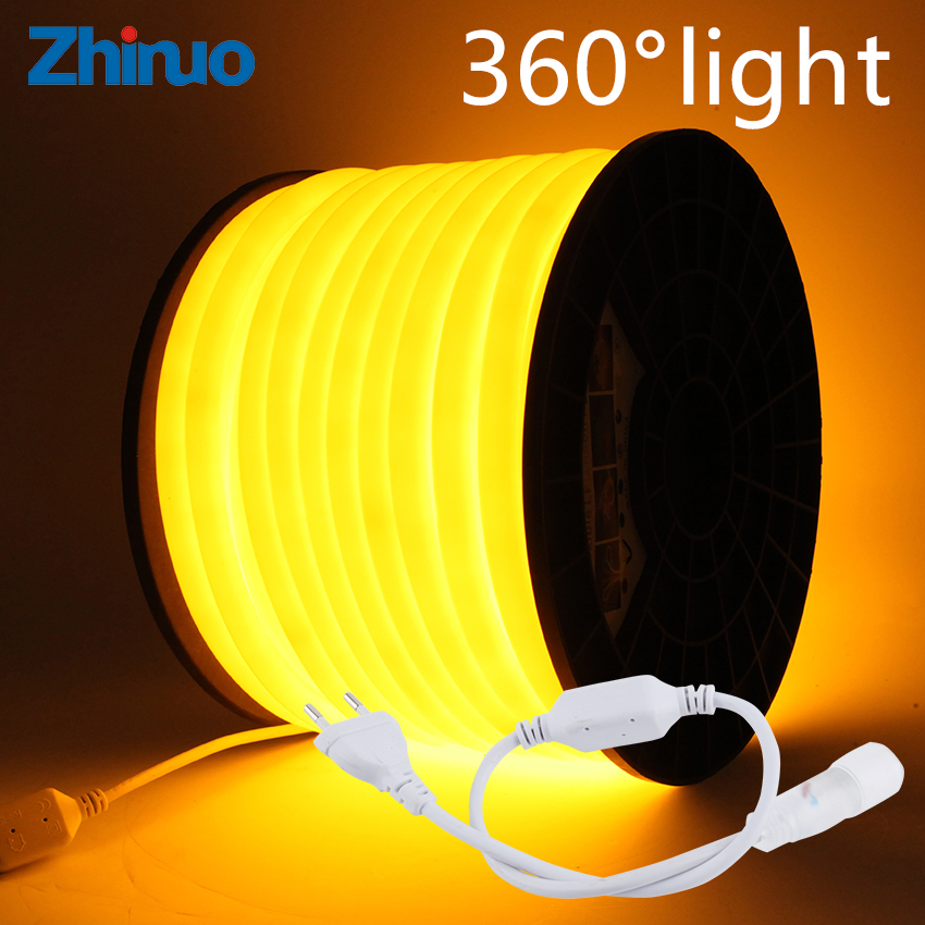 Neon LED Strip 360 Round AC 220V 230V 240V Flexible Neon Light Tube Rope Outdoor Decorative Waterproof Lighting With Power Plug