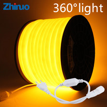 Neon LED Strip 360 Round AC 220V 230V 240V Flexible Neon Light Tube Rope Outdoor Decorative Waterproof Lighting With Power Plug(China)