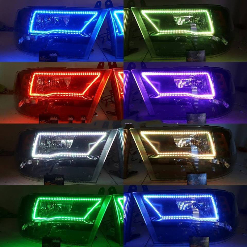 RGB Multi Color LED Angel Eye Kits Halo Rings For 2009 2017 Dodge RAM 1500 2500
