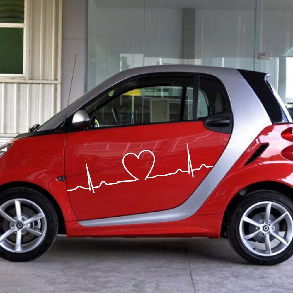 Car side sticker design - Car Vinyl Dual Racing Stripes Side Stickers Body Decals Stripe Heart For Smart 972