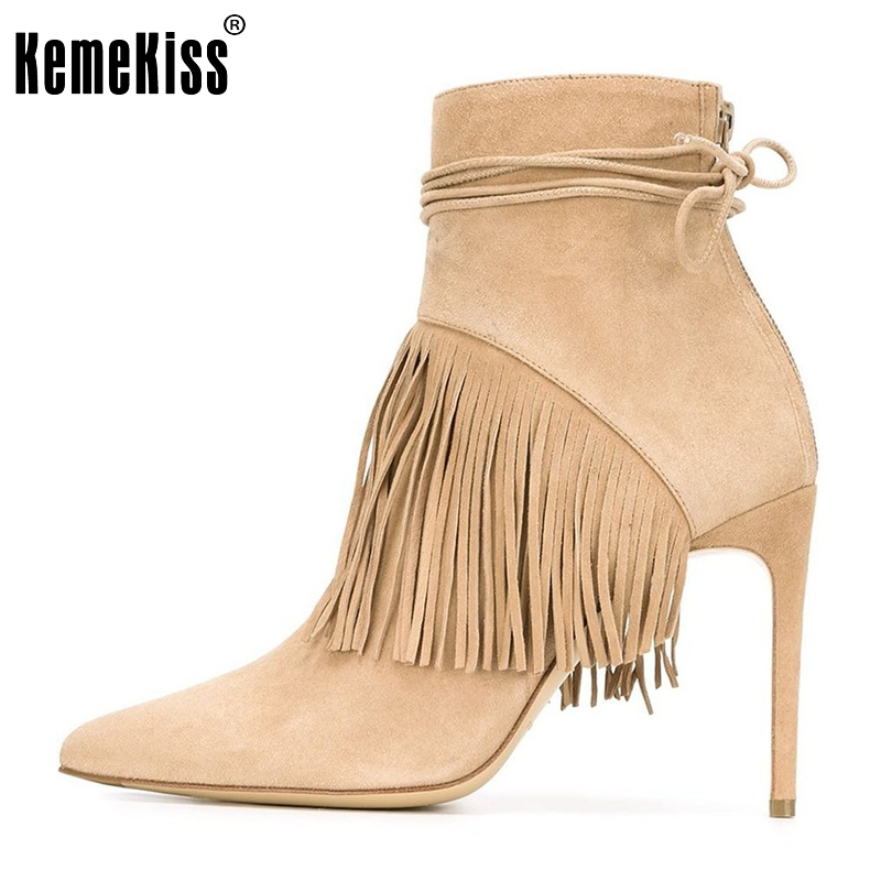 ФОТО Women Tassel Thin Heel Ankle Boots Woman Zipper Pointed Toe Boots Brand Quality Cross Strap Woman Shoes Size 35-46 B292