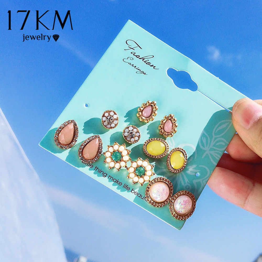 17KM Bohemia Flower Stone Stud Earrings Set For Women Fashion Cubic Zirconia Round Earring Statement Ethnic Party Jewelry Gifts