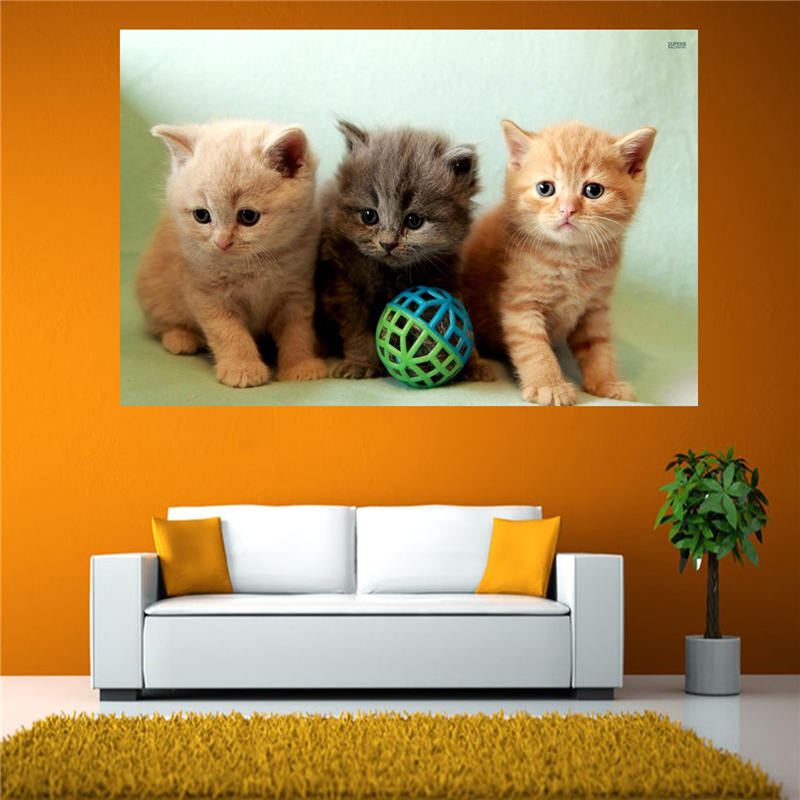 Hot Custom canvas print Three little Cats poster cloth wall Silk Fabric poster Print FREE SHIPPING