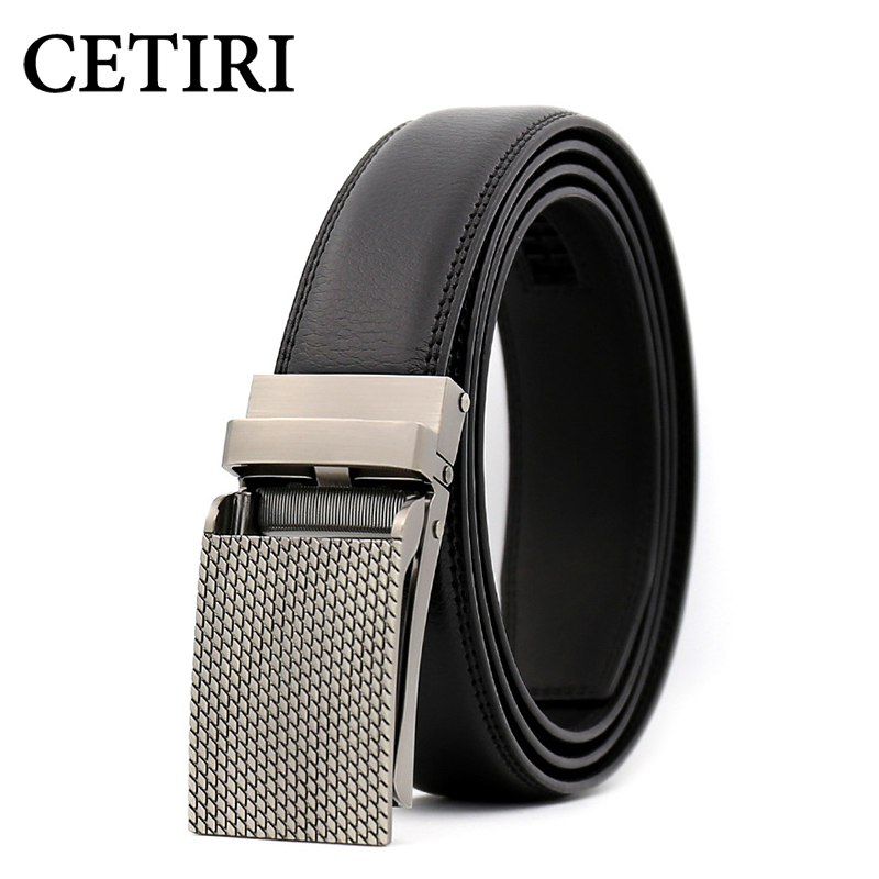 CETIRI 3.1cm Click Ratchet Belt With Sliding Buckle Top Quality Leather Automatic Belt For Men Adjustable Trim To Exact Fit