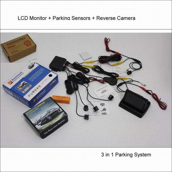 Liislee pour Audi A8 2009 ~ 2011-capteurs de stationnement de voiture + caméra de recul = système d'alarme BIBI visuel 2 en 1