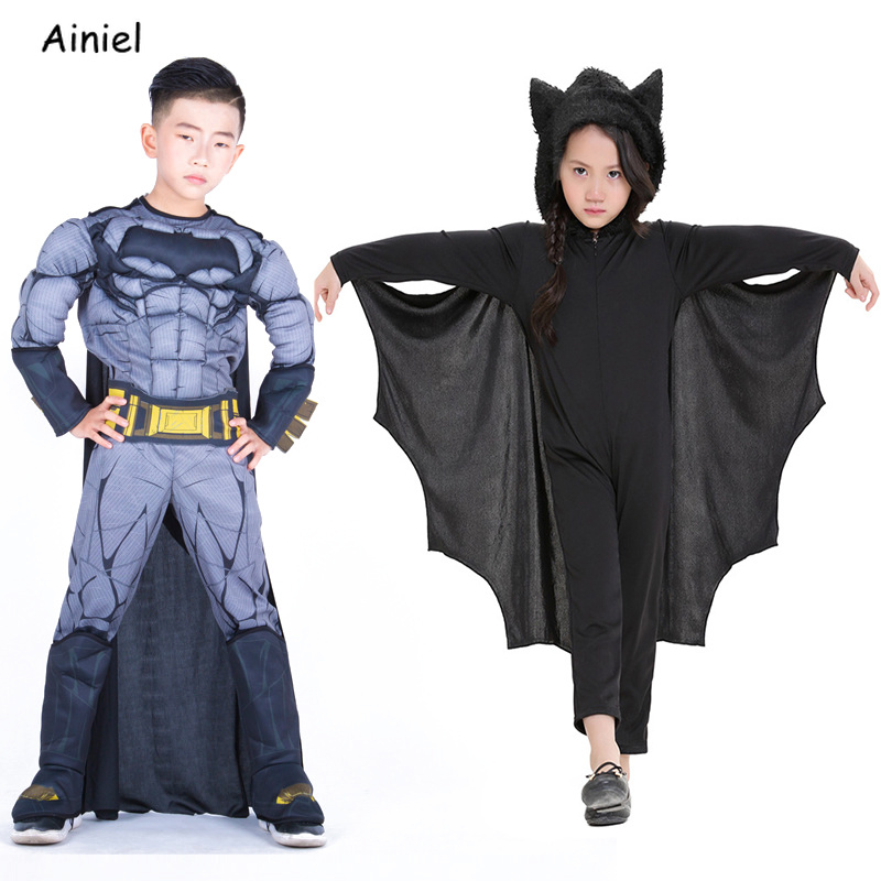 Kids Batman Deluxe Muscle Costume Jumpsuit Superhero Halloween Costume American Captain Cosplay Party Fancy Dress for Boy Girls