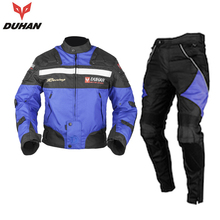DUHAN Men's Windproof Waterproof Motorcycle Jacket Suit Motocross Riding Pants Clothing Set With Removable Protector Gear