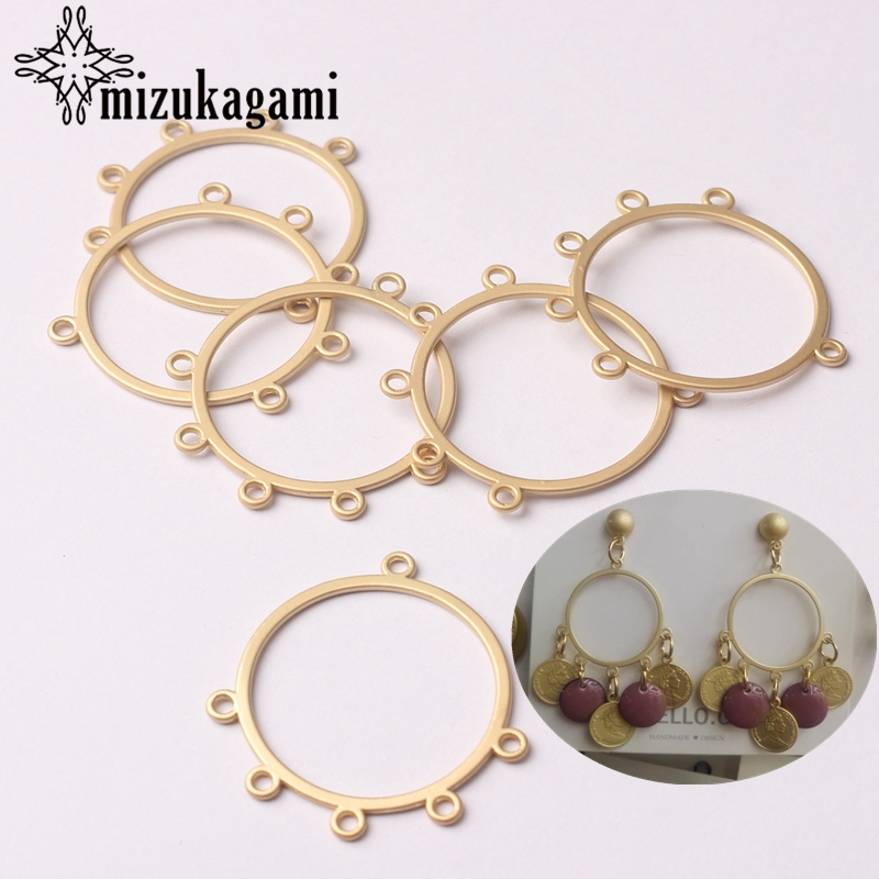 Zinc Alloy Charms Flat Golden Round Shape Hollow Circle Connector Charms 6pcs/lot For DIY Tassel Earrings Making Accessories