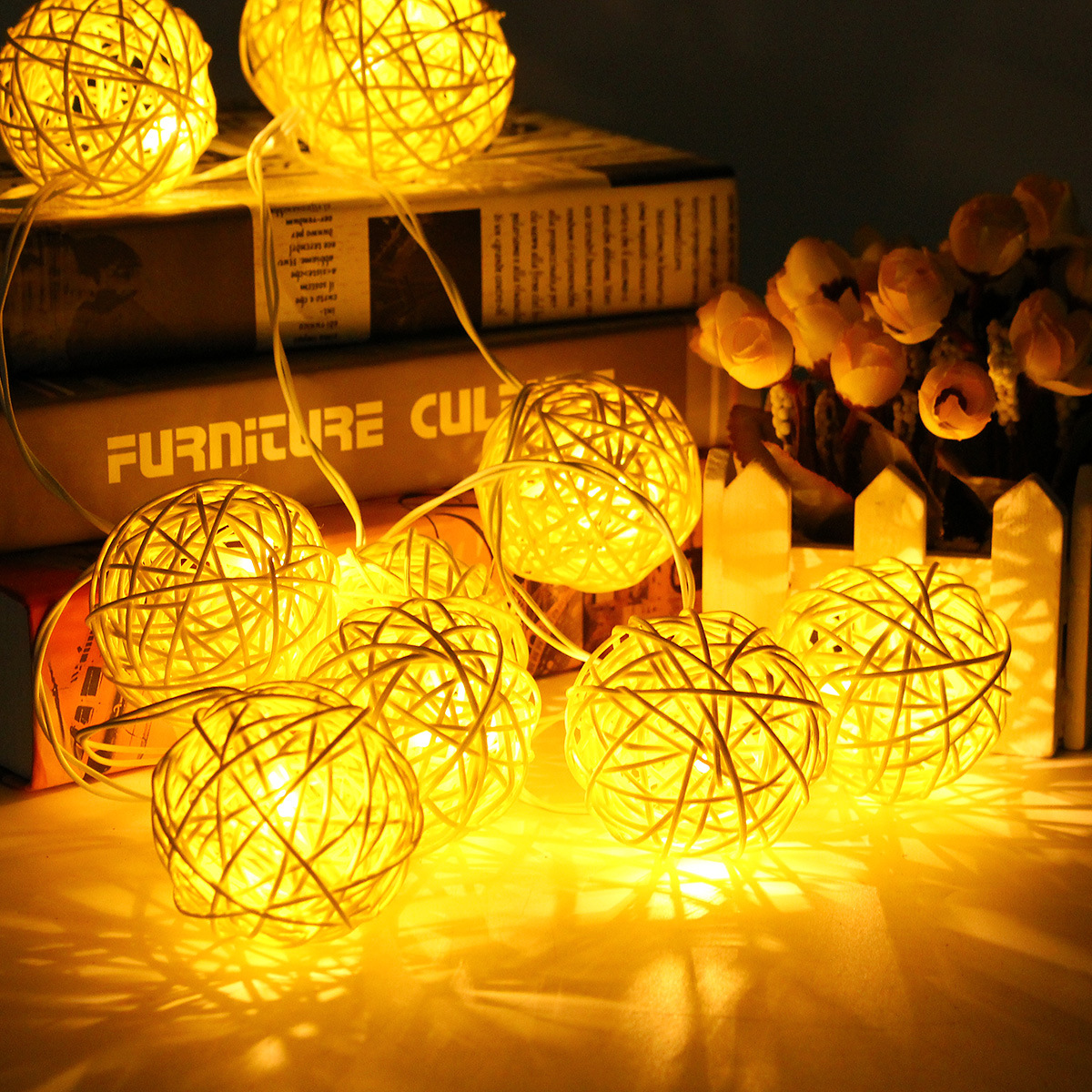 LBTFA 1m 3m Rattan Ball LED String Lights Fairy Lights Garland New Year Christmas Decorations For Home Navidad 2019 Home Decor