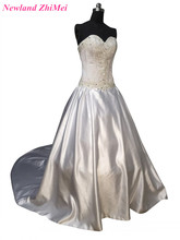 Hot Sale A Line Wedding Dresses Luxury Sweetheart Beading Floor Length Satin Bridal Gown with Long Train